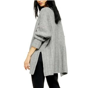 TopShop Long Cardigan Sweater Gray Knit Pockets